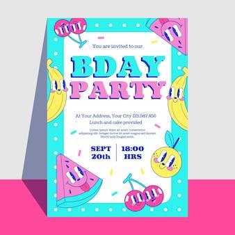 Hand drawn flat trendy cartoon birthday invitation