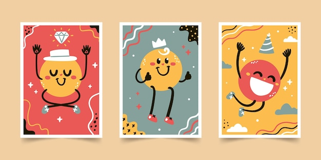 Hand drawn flat trendy cartoon covers collection
