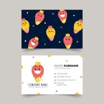 Hand drawn flat trendy cartoon horizontal business card template