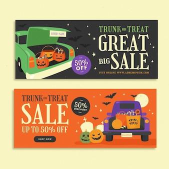 Набор рисованной плоский багажник или продажа баннеров