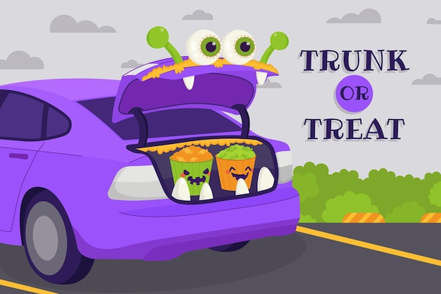 Hand drawn flat trunk or treat background