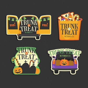 Hand drawn flat trunk or treat badges collection