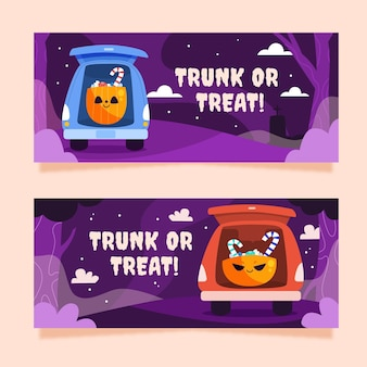 Hand drawn flat trunk or treat banners set