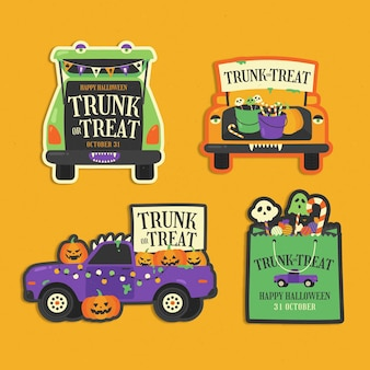 Hand drawn flat trunk or treat labels collection