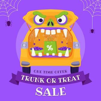 Hand drawn flat trunk or treat sale illustration