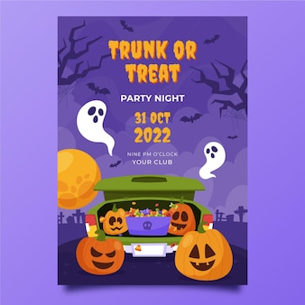 Hand drawn flat trunk or treat vertical flyer template