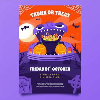 Hand drawn flat trunk or treat vertical poster template