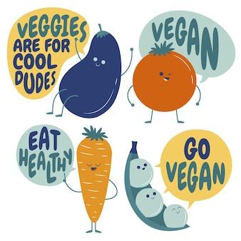 Коллекция рисованной плоских вегетарианских значков