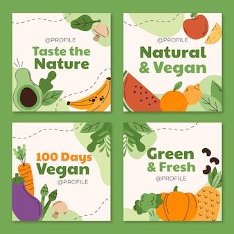 Collezione di post di instagram di cibo vegetariano piatto disegnato a mano