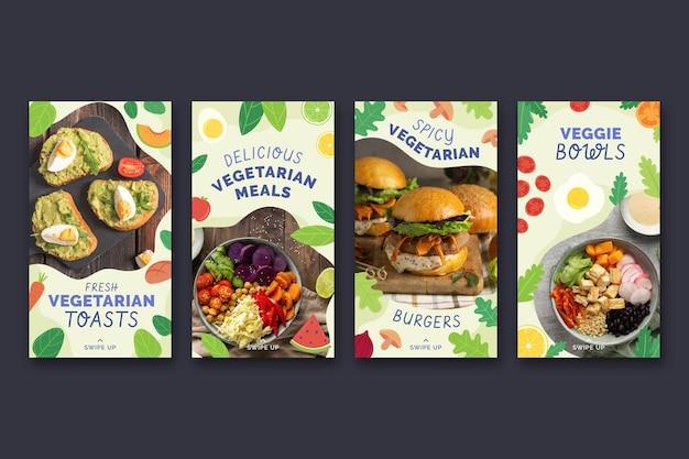 Collezione di storie di instagram di cibo vegetariano piatto disegnato a mano