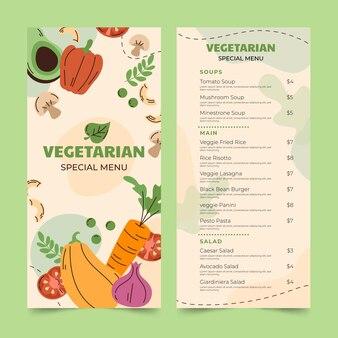 Hand drawn flat vegetarian food menu template