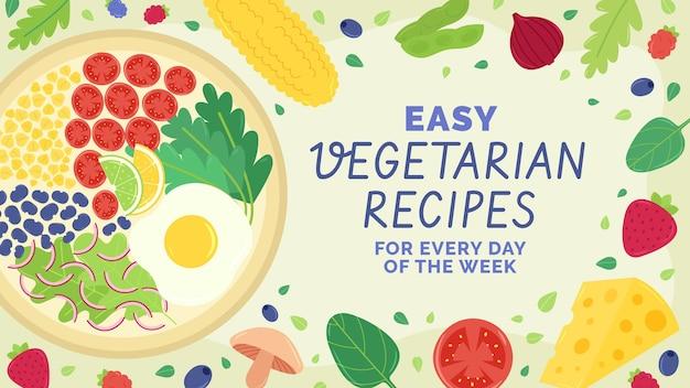 Miniatura di youtube di cibo vegetariano piatto disegnato a mano