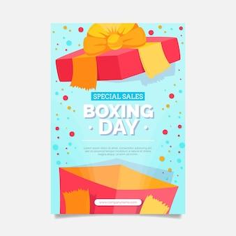 Нарисованный рукой плоский вертикальный шаблон плаката продажи дня бокса