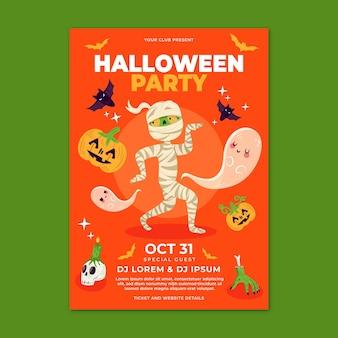 Modello di volantino festa di halloween piatto verticale disegnato a mano