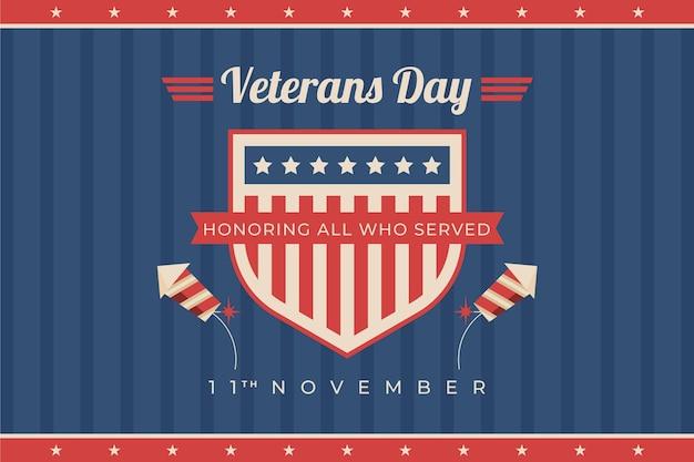Hand drawn flat veteran's day background