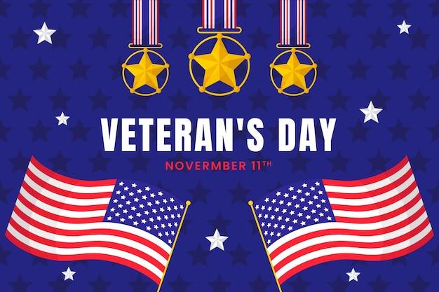 Sfondo del giorno del veterano piatto disegnato a mano