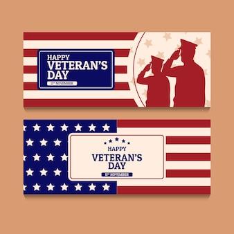 Set di bandiere orizzontali disegnate a mano per il giorno del veterano piatto