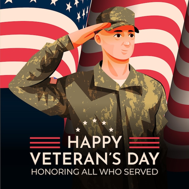 Hand drawn flat veteran's day illustration with soldier saluting