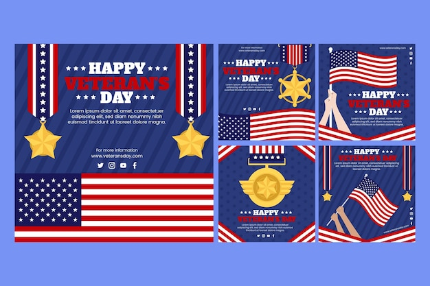 Hand drawn flat veteran's day instagram posts collection