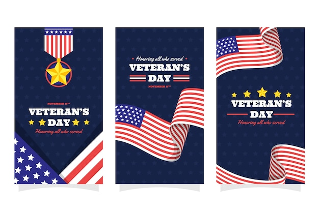 Hand drawn flat veteran's day instagram stories collection
