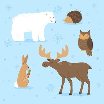 手描きの平らな冬の動物コレクション
