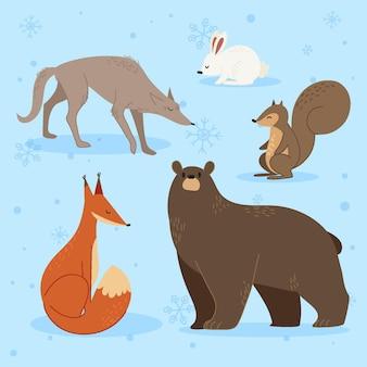 손으로 그린 평면 겨울 동물 컬렉션
