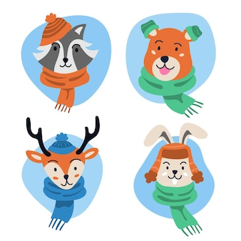 Hand drawn flat winter animals collection