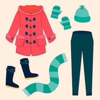 手描きの平らな冬服と必需品のコレクション