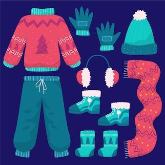 손으로 그린 플랫 겨울 의류 및 필수 컬렉션