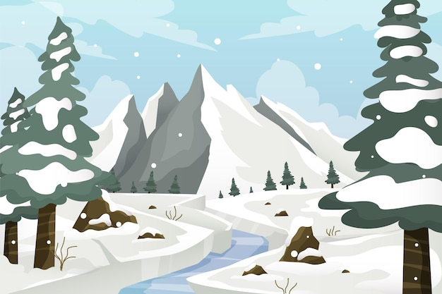 Hand drawn flat winter landscape with trees and snow