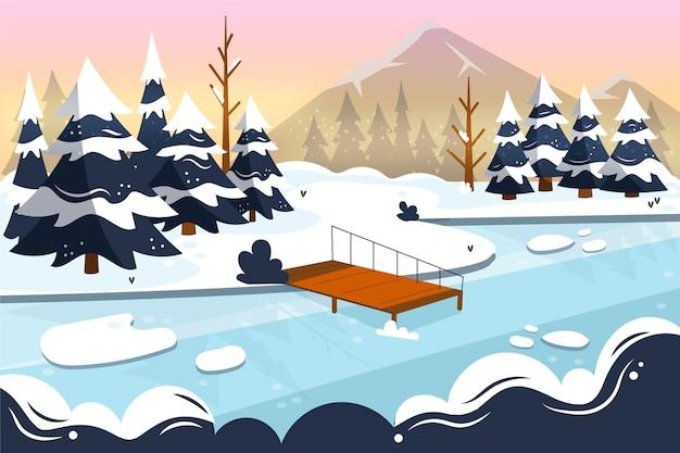 手描きの平らな冬の風景