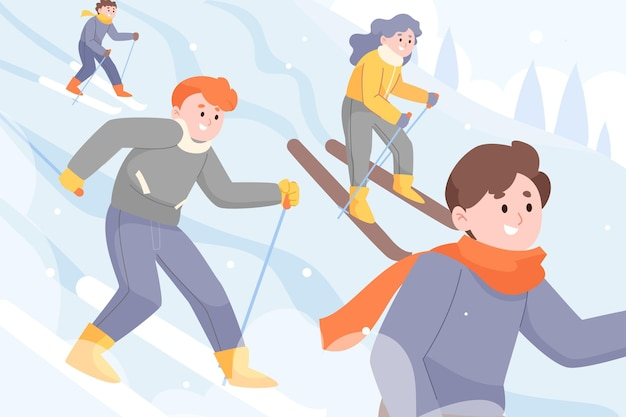手描きフラット冬の人々のコレクション