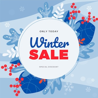 Hand drawn flat winter sale illustration with leaves