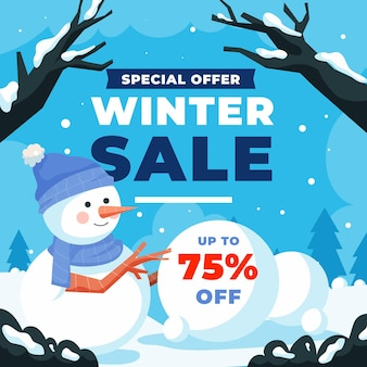 Hand drawn flat winter sale illustration with snowy branches and snowman