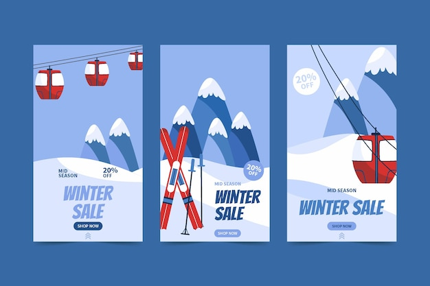 케이블카와 스키가 있는 손으로 그린 플랫 겨울 세일 인스타그램 스토리 컬렉션