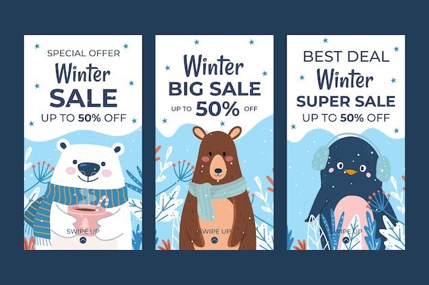 冬の動物と手描きのフラット冬のセールinstagramストーリーコレクション