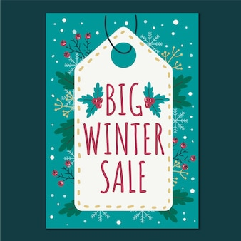 Hand drawn flat winter sale vertical poster template