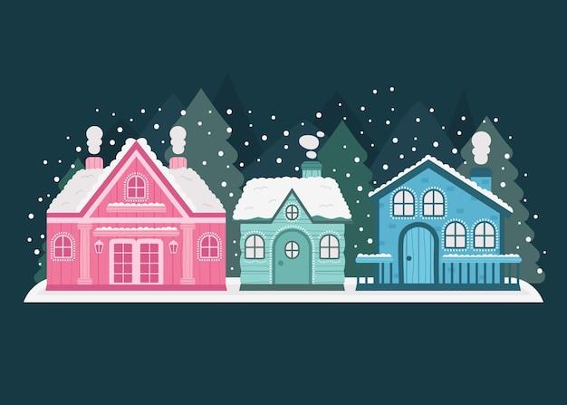 手描きの平らな冬の村のイラスト