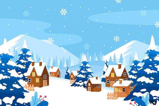 Нарисованная рукой плоская иллюстрация зимней деревни