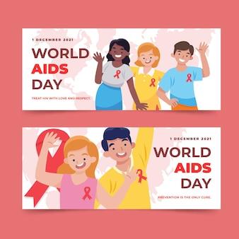 Set di bandiere orizzontali disegnate a mano per la giornata mondiale dell'aids
