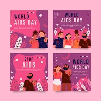 Collezione di post di instagram per la giornata mondiale dell'aids piatta disegnata a mano