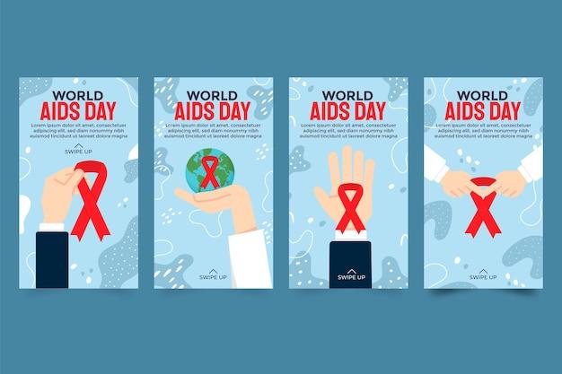 Collezione di storie di instagram per la giornata mondiale dell'aids piatta disegnata a mano