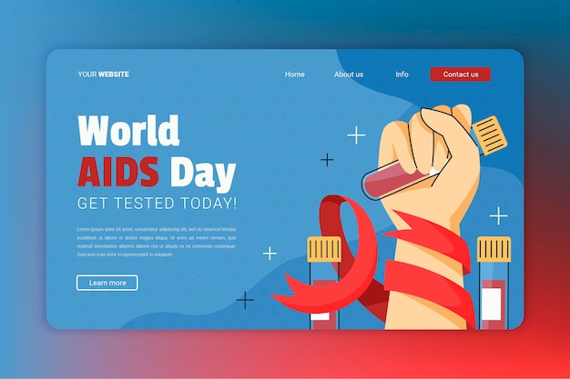 Hand drawn flat world aids day landing page template