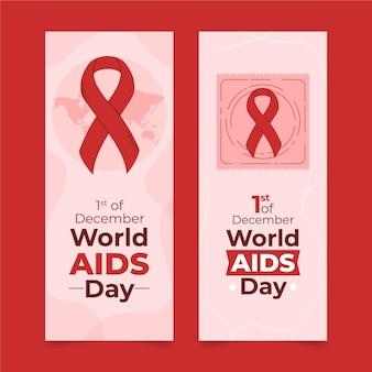 Set di banner verticali piatti disegnati a mano per la giornata mondiale dell'aids
