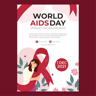 Hand drawn flat world aids day vertical poster template