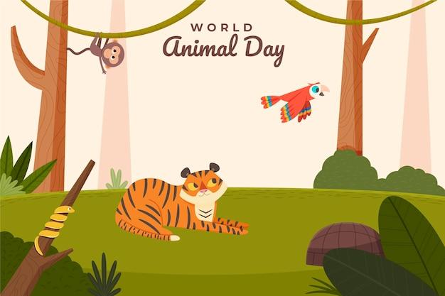 손으로 그린 평면 세계 동물의 날 배경