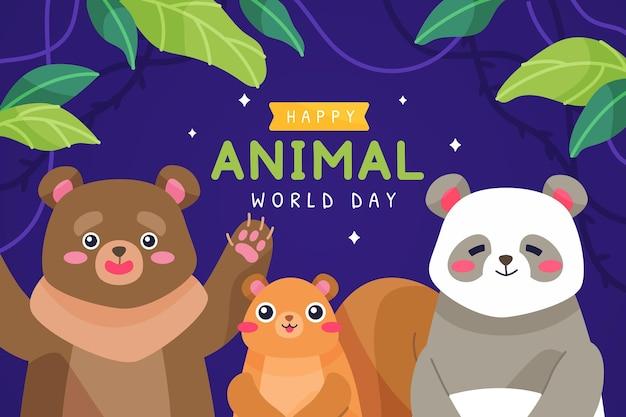 Fondo piatto disegnato a mano della giornata mondiale degli animali