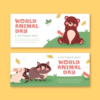 Set di banner orizzontali per la giornata mondiale degli animali piatti disegnati a mano
