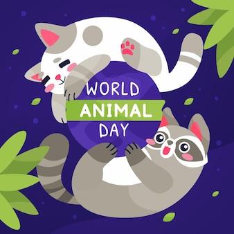 Hand drawn flat world animal day illustration