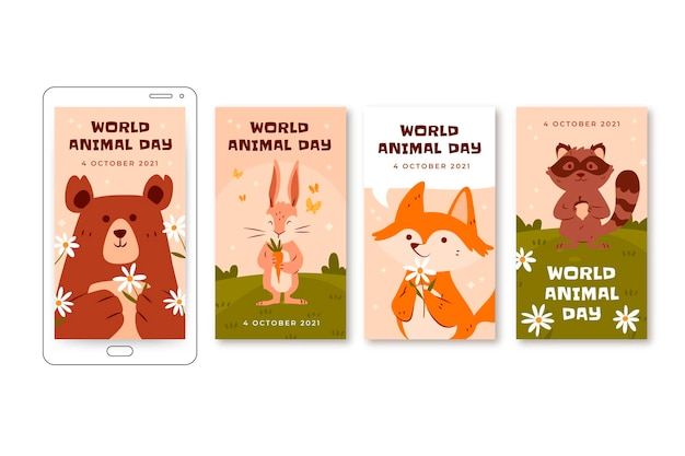 Hand drawn flat world animal day instagram stories collection